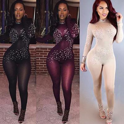 c66d7b24fe0 Sexy Mesh Rhinestone Nightclub Jumpsuits Long Sleeve Bodysuits Women  Jumpsuits Playsuits