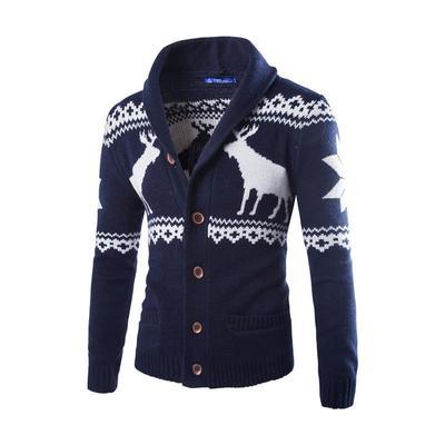 Mens Fashion Print R Button Up Knit Cardigan Sweater Autumn