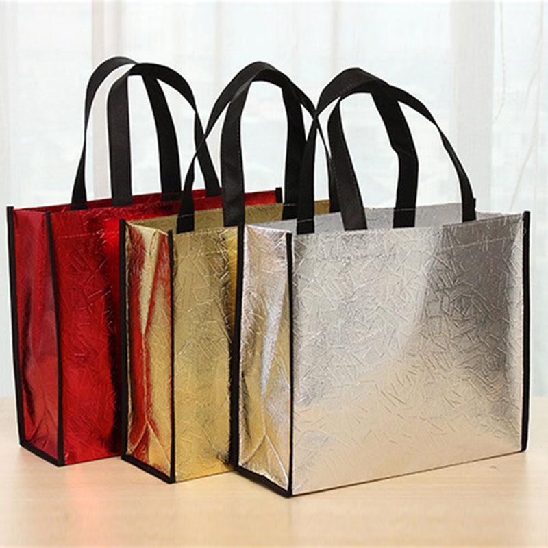 Женщины Мода Полезные складные лазерные сумки многоразовые Eco Tote водонепроницаемая ткань нетканый мешок фото