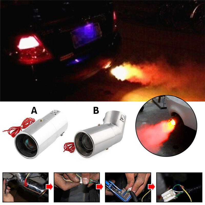 LED exhaust pipe car modifications spitfire light(red stainless steel flame  exhaust muffler