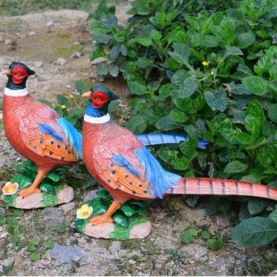 2Pcs Animal Garden Statue Pheasant Outdoor Sculpture Resin Lawn Decor