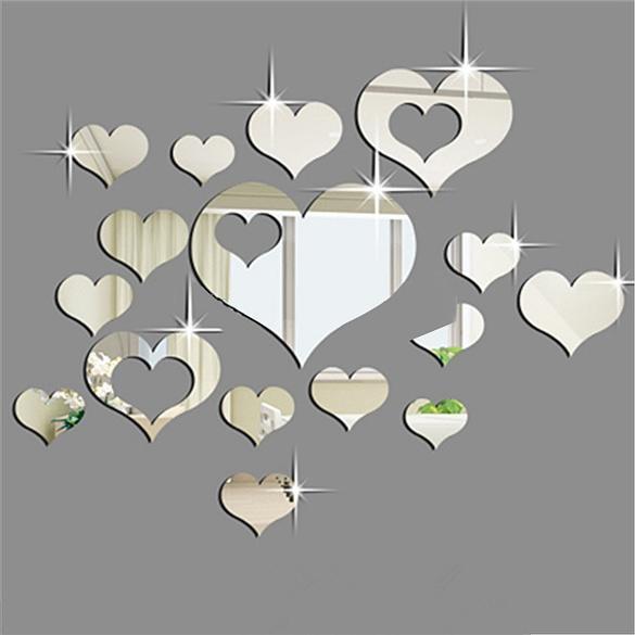 Мода 16PCS сердца зеркало домашнего украшения DIY пластиковых 3D стены стикеры фото