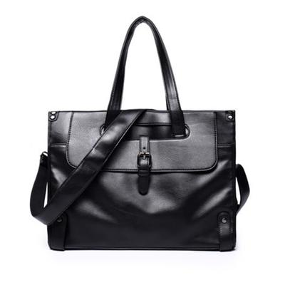 Male Bag PU Leather Briefcase Business Handbag Travel Messenger Bags Boys Vintage Shoulder Bag Large Capacity Coffee