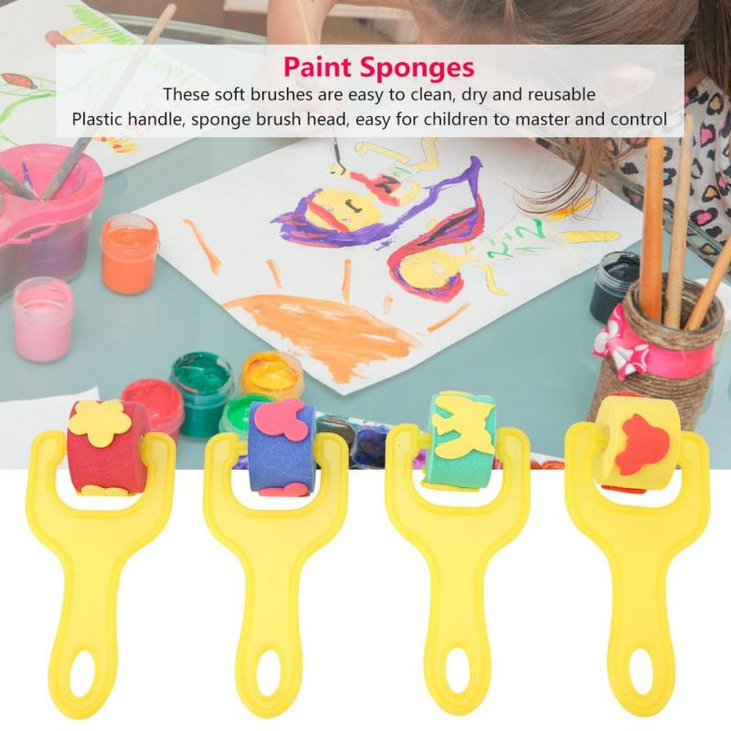 4Pcs Kids Children Sponge Painting Roller Brushes Set DIY Educational Paint Toy