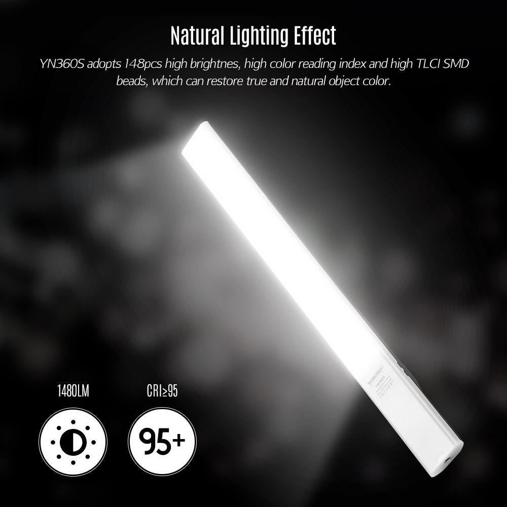 YONGNUO YN360 Pro Handheld LED Video Light Wand Bar 5500K Dimmable APP Remote