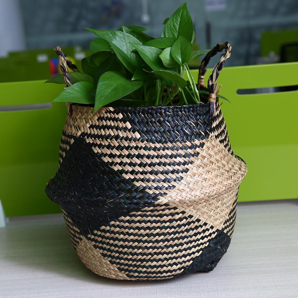 Handmade Woven Rattan Seagrass Tote Belly Basket Plant Vase Pot Cover Decorative