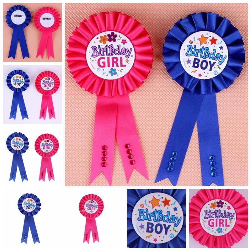 Birthday Girl Boy Award Ribbon Rosette Badge Pin Children/'s Party Favor/_ch