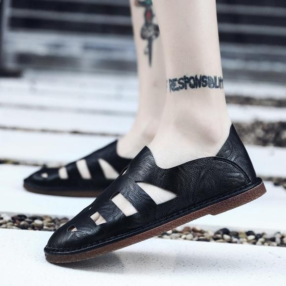 Running Summer Leather Men's Crocs British On With Lazy Shoes Leisure Sandals Leather Shoes
