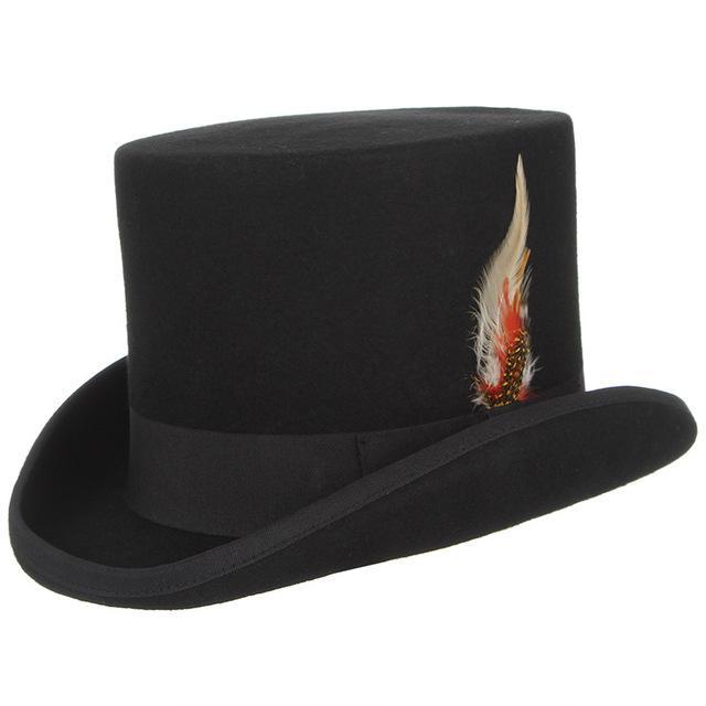 Sombreros estilo los hombres y las mujeres lana Fedora Steampunk Top ... d5fa7054b0a
