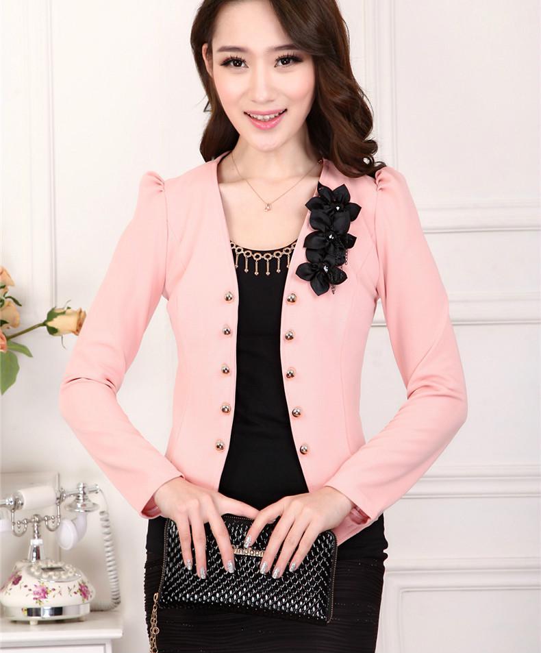 办公室的正式夫人女人花细短外套夹克休闲秋季外套