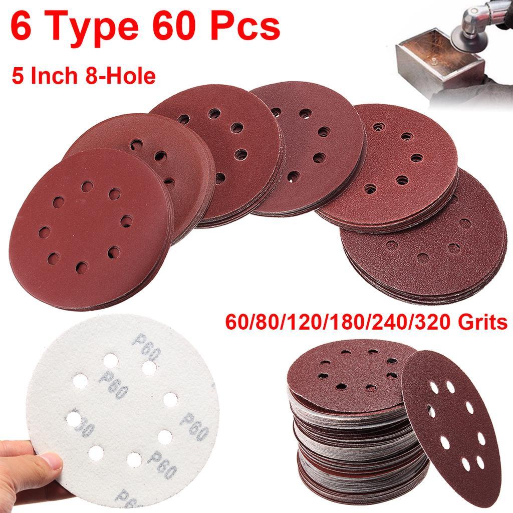 P60 125mm Sanding Discs Velcro Orbital Sandpaper Sanding Sheets 50pcs.