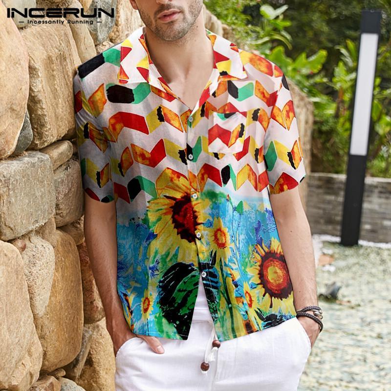 Mens Short Sleeve Polka Dot T Shirt Causal Loose Aloha Blouse Beach Tops Tees US