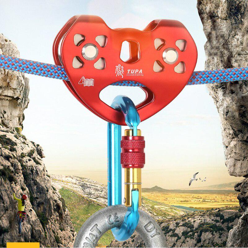 25KN Cable Trolley Pulley w// Ball Bearing Outdoor Rock Ice Climbing Accessories