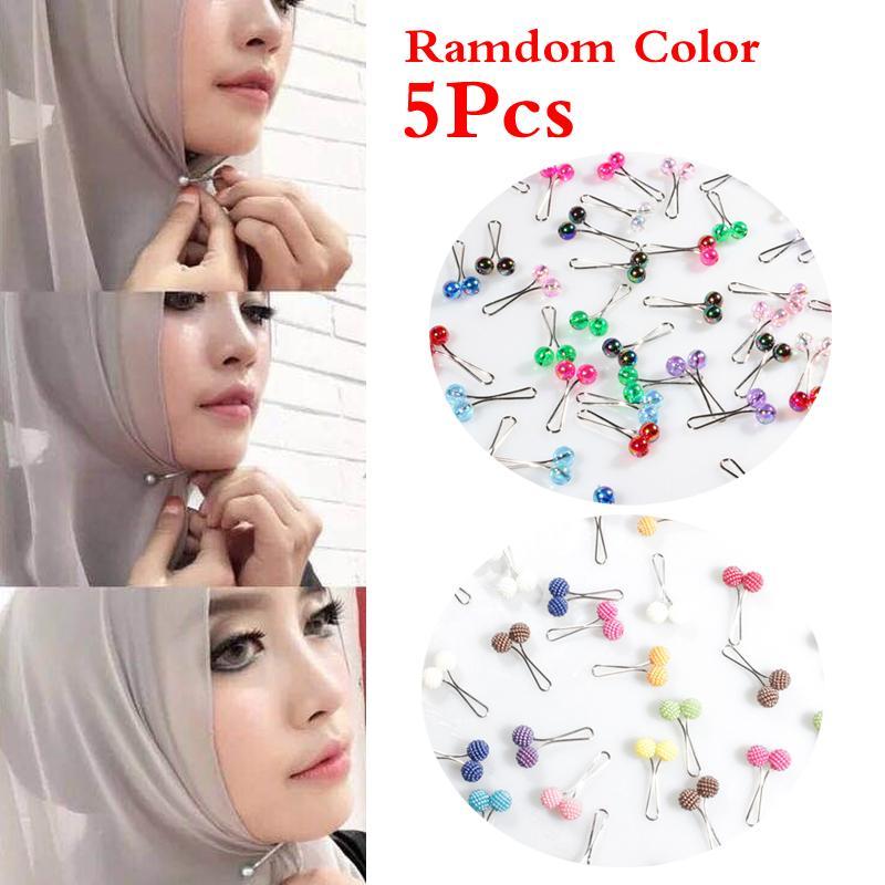 5Шт изысканные ювелирные изделия мусульманских шарф пряжки клип хиджаб булавки жемчуг броши элегантные модные модные фото