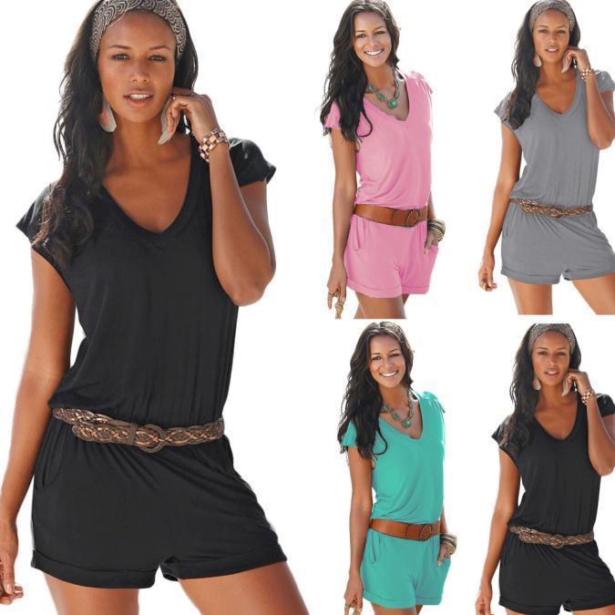 夏装新款深V领无袖清凉性感沙滩休闲连体裤