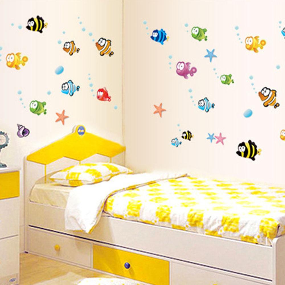 Underwater Fish Starfish Bubble Wall Sticker For Kids Rooms Cartoon ...