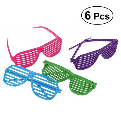89ed0f4e8d2 6Pcs of Plastic Shutter Shades Glasses Sunglasses Eyewear Halloween Props(Random  Color)