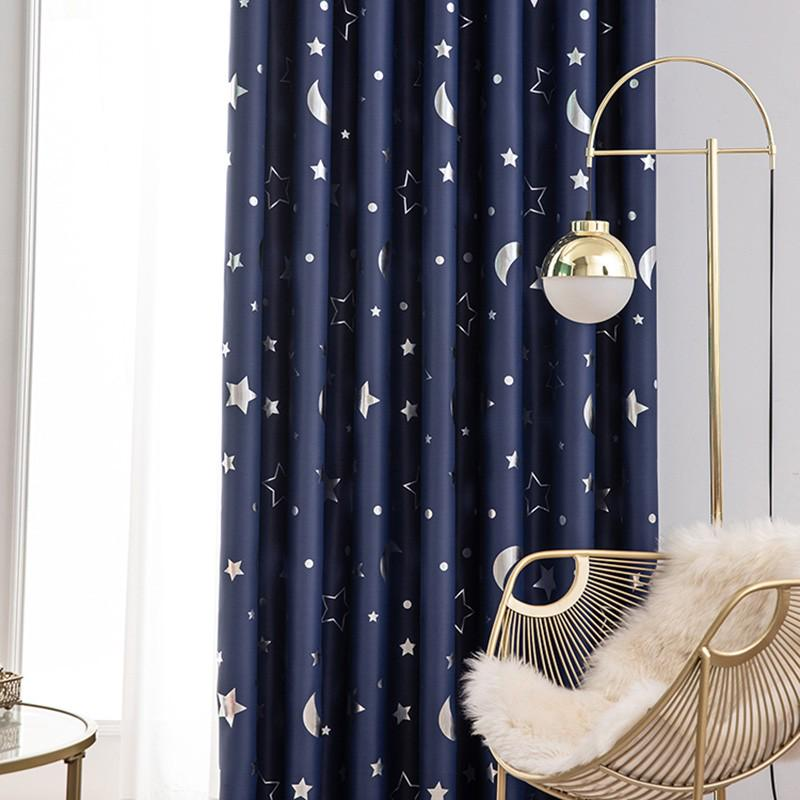 Star And Moon Curtains For Kids Bedroom, Boys Room Curtains