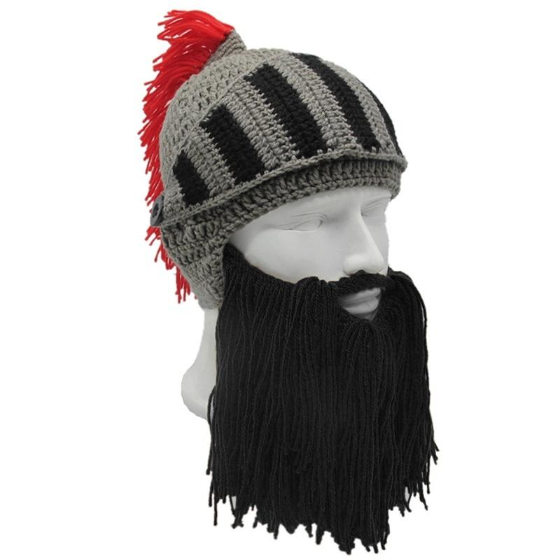 Pirate Hobo Hat Knitted Wool Warm Winter Wig Beard Cosplay Costume Cap Men Women