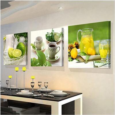 3 Pc Moderno Frutas Limon Lienzo Cuadros Cocina Living Comedor