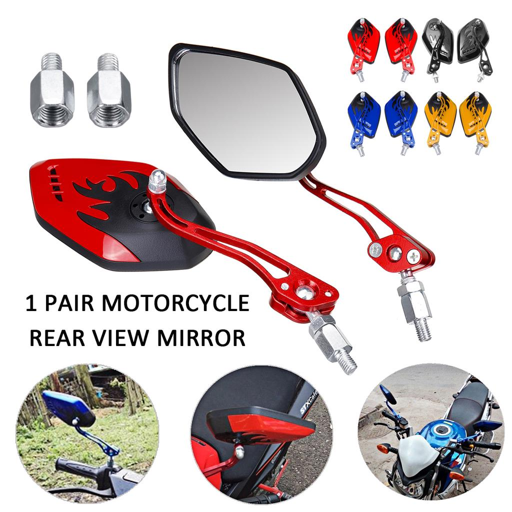 LMoDri Motorcycle Mirrors Motorbike ATV Scooter Rear View Mirror With 7//8 Handlebar Mount Dirt Quad Bike Back Side Mirror Adapter
