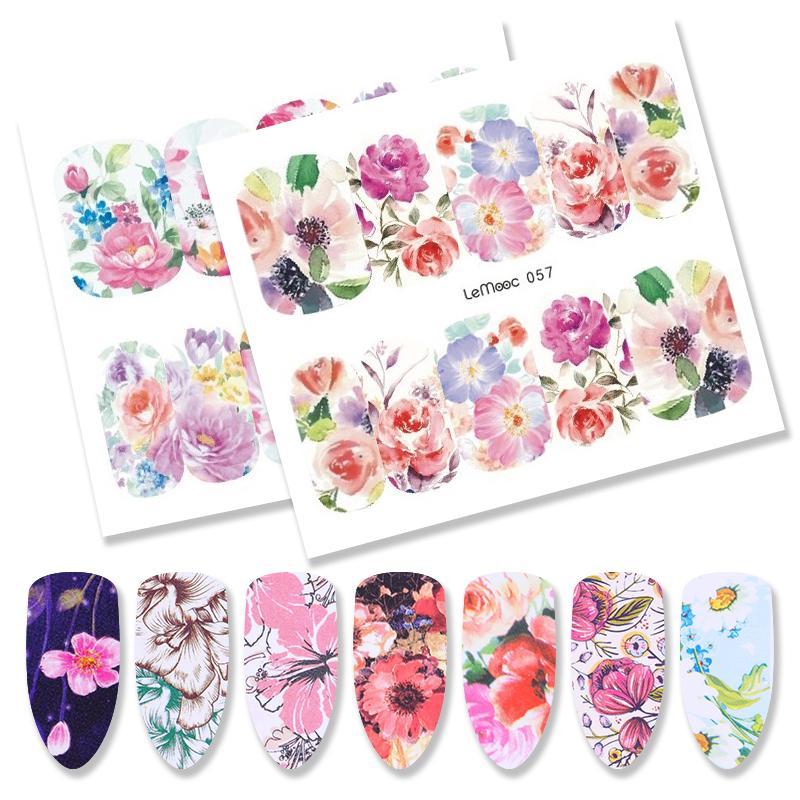 1 лист LEMOOC Nail Art воды наклейки изогнут цветок полная передача наклейки фото