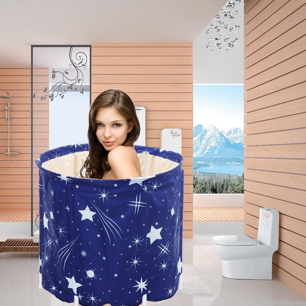 Folding Bathtub Portable PVC Water Tub Outdoor Room Spa Bath Tub 70X65cm USA