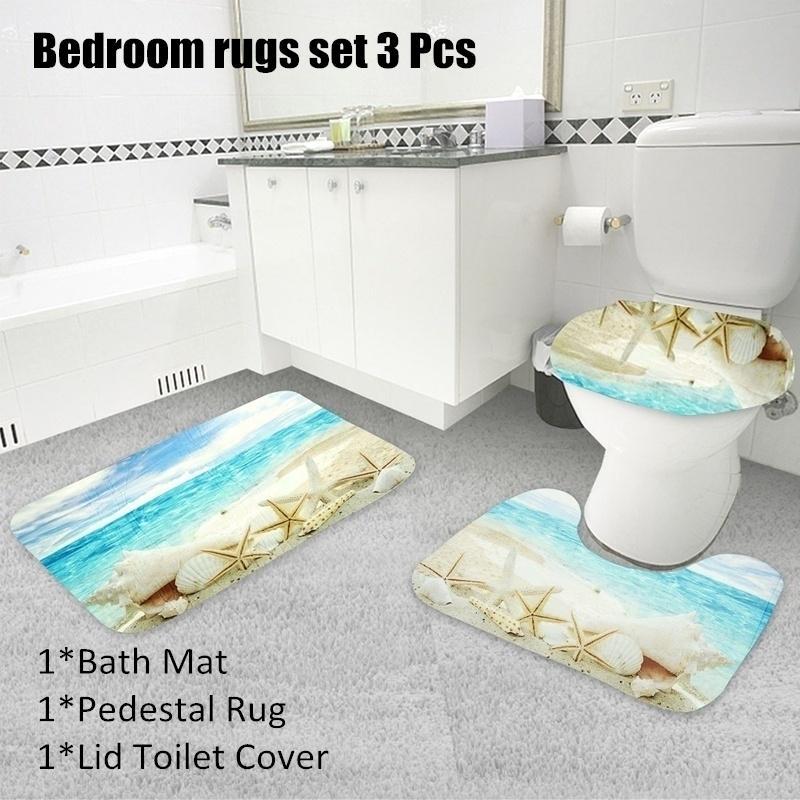 Sunset Bathroom Rug Set Shower Curtain Skidproof Toilet Seat Lid Cover Bath Mat