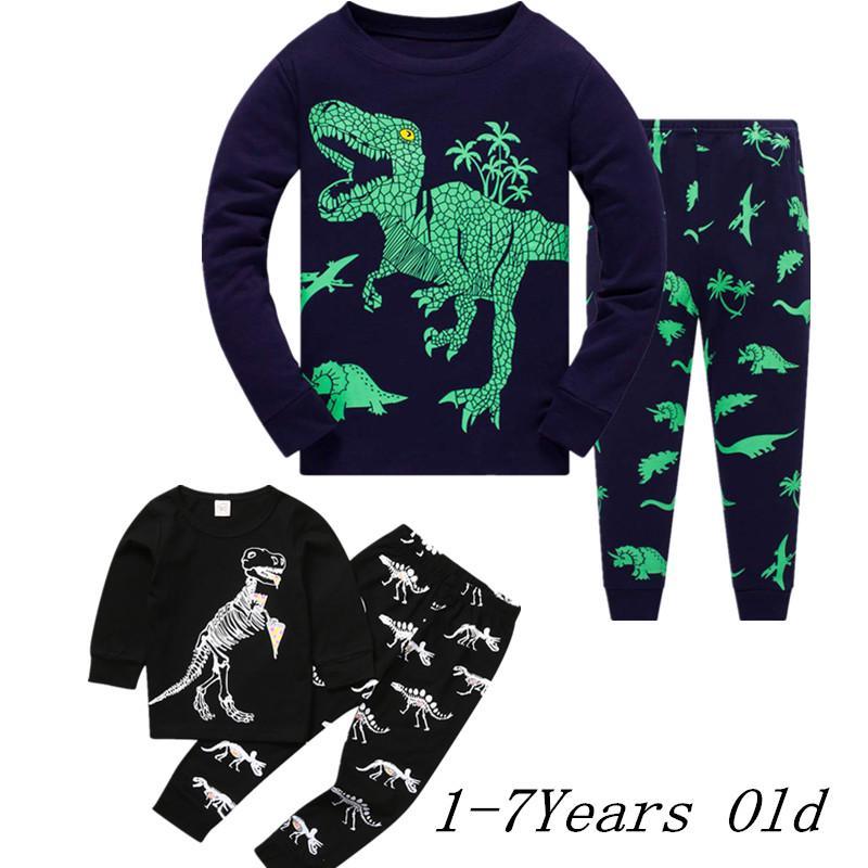 Baby Boy Kids Cartoon Dinosaur T shirt Tops Pants Pajamas Sleepwear Outfits Set