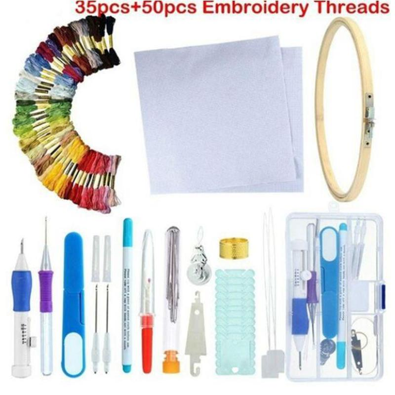 1Set DIY Embroidery Pen Stitching Punch Needle Kits with Scissor Sewing Kits