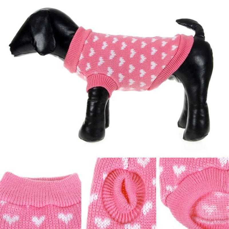 Linda ropa para mascotas perro corazón patrón suéter perrito ...