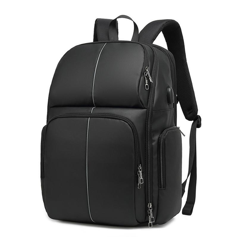 Men's Leather PU Travel School Backpack Shoulder Laptop Bag Waterproof Black