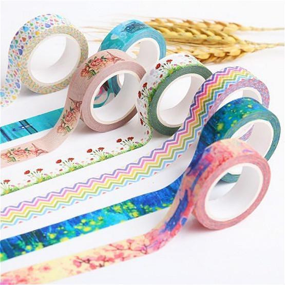 10x DIY Self Adhesive Glitter Washi Masking Tape Sticker Craft Decor 15mmx3m MR