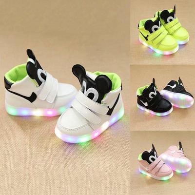 Kids Fashion Cartoon LED Light Shoes Boys Girls Casual Flat Heel Sports Shoes Size 21-30
