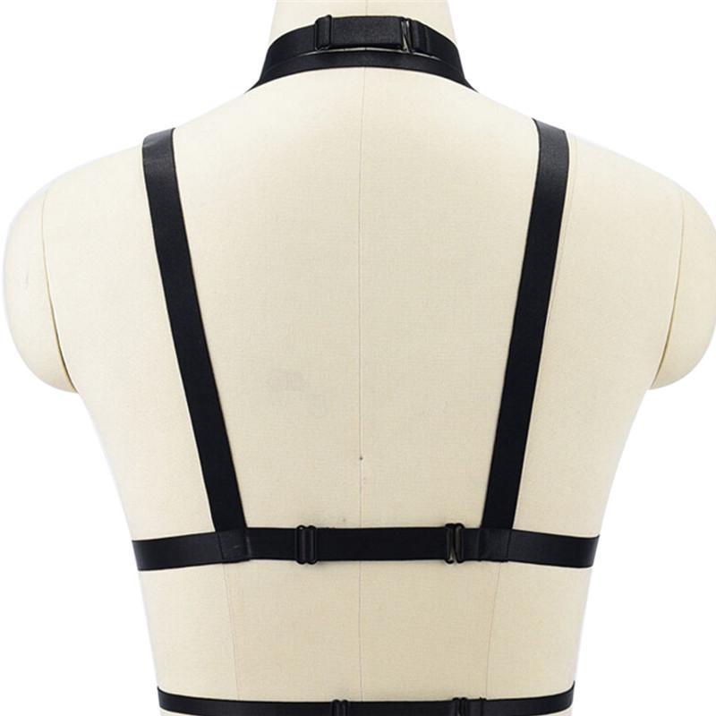 Ladies Elastic Bandage Goth Cage Bra Body Harness Cross Crop Straps Lingerie+q