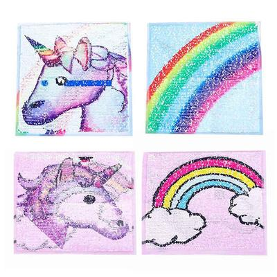 Reversible Change-Color Sequins Patch Shell'Shape Sew-On Applique-Craft 8.5*10cm