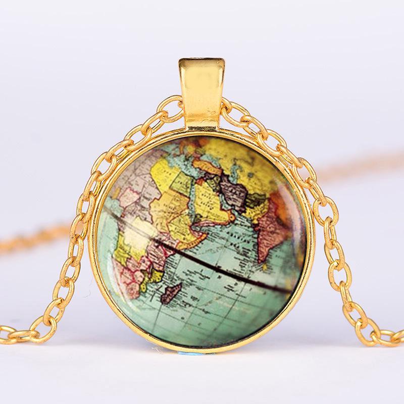 Globus Kuppel Halskette Erde Welt Karte Anhänger Glas Schmuck New York Karte handgemachte Halskette
