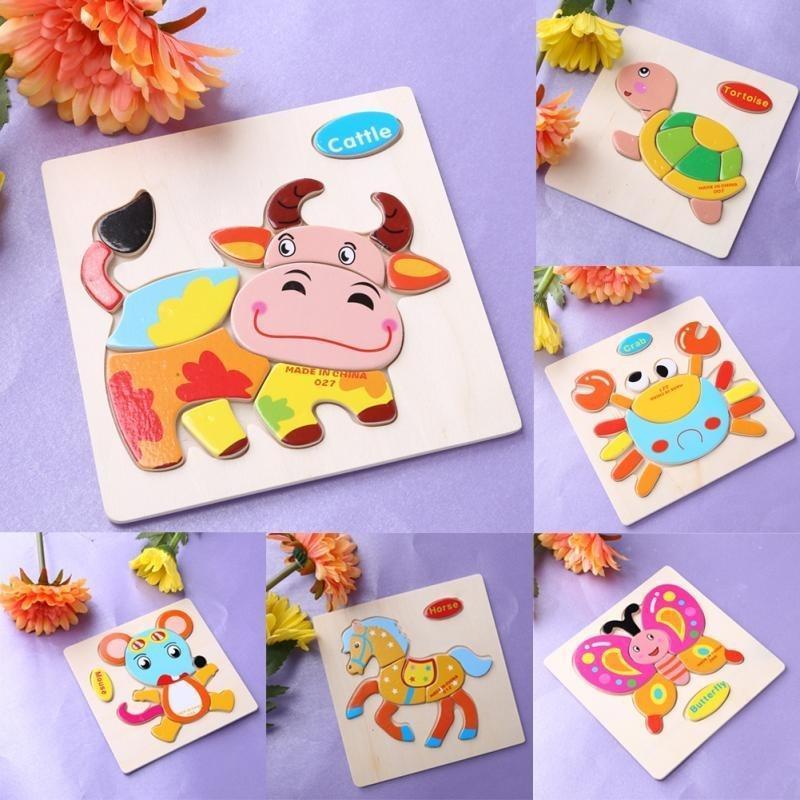 木制儿童卡通动物立体拼图益智玩具