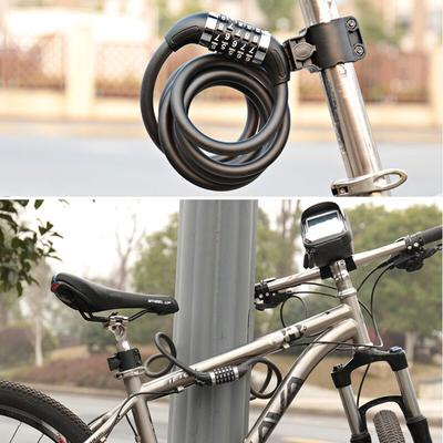 Bicycle Cycle Bike Helmet Pocket Combination Cable Lock Spiral Steel Cable