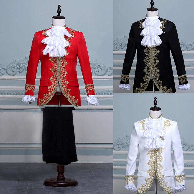 Medieval King Prince Cosplay Coat Vest Pant Suit Set Men Halloween Party Costume