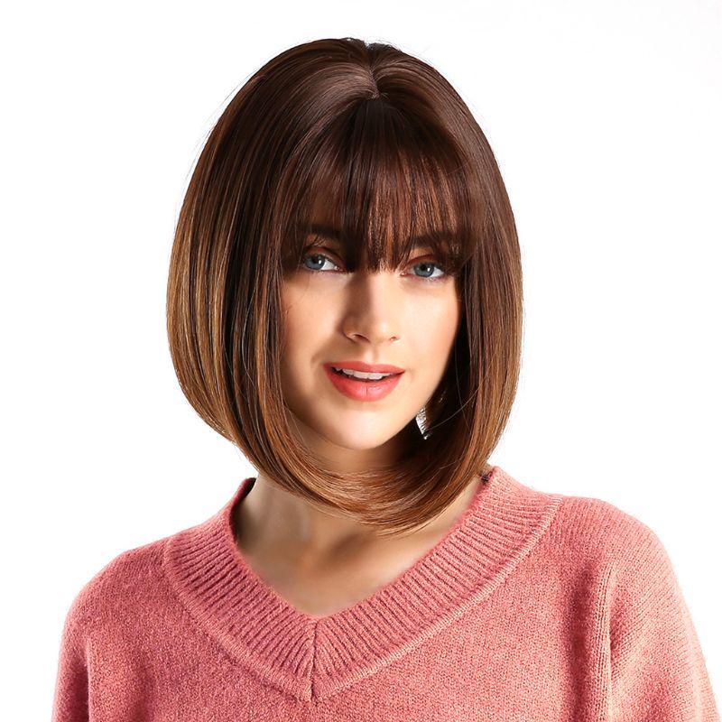 jakość odebrać dobra jakość Peruka damska z grzywką Bob fryzura prosta Krótkie włosy ...