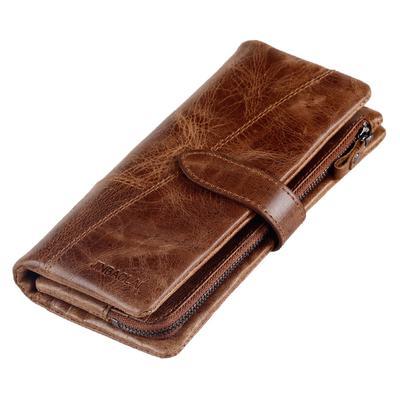 2d75e1a33 Cuero larga sección embrague bolso monedero Moda Casual hombre  multifuncional