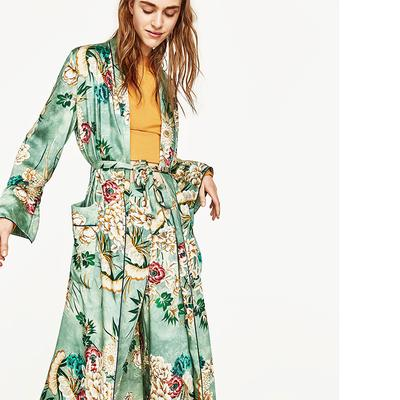 Green Floral Cardigan Trench Coat Holiday Womens Kimono With Belt Loose Casual U