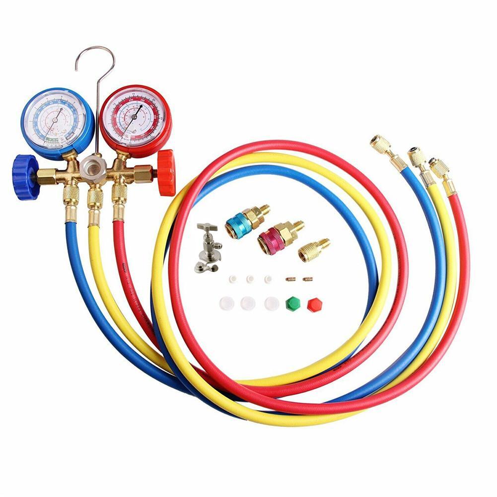 AC Diagnostic Manifold Freon Gauge Set Refrigerant Air Conditioning Tools AC Diagnostic Manifold Gauge Set W//Hose and Hook Kit