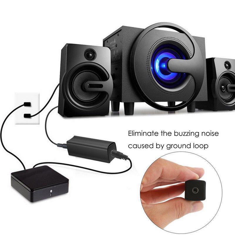 Ground Loop Noise Isolator Eliminate Home Car Aux Audio System Stereo 3.5mm EN