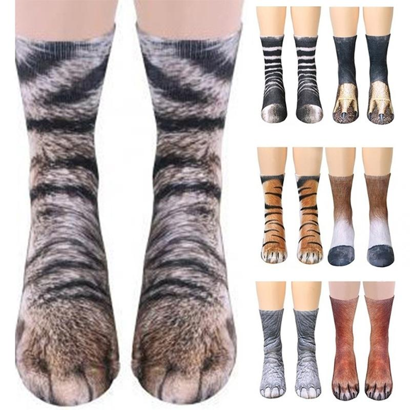 Womens Mens 3D Animals Claw Print Cotton Socks Teen Kids Funny Ankle Socks Gifts