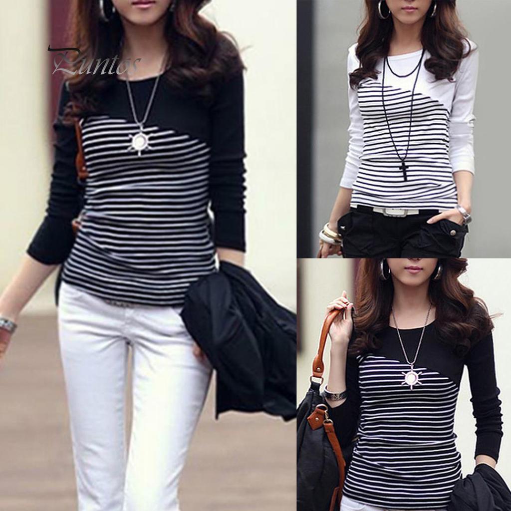 Глобальная продажа женщин полоса Длинные рукава Круглый шеи T-Shirt Slim Fit Top – купить по низким ценам в интернет-магазине Joom