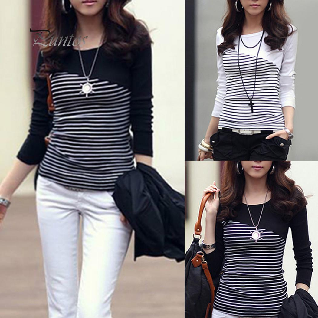 Глобальная продажа женщин полоса Длинные рукава Круглый шеи T-Shirt Slim Fit Top