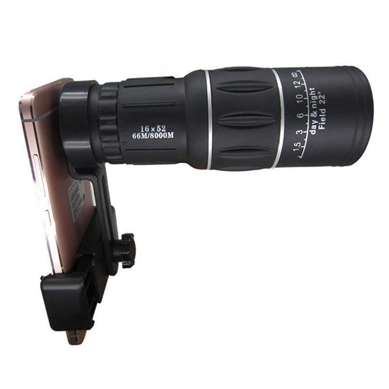 高清高倍微光夜视户外旅游16X52可用手机支架单筒望远镜