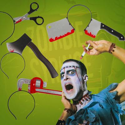 Styling Tools Creative 2pcs Funny Scary Halloween Props Bloody Through Head Hair Hoop Headpiece Headband Hairband Trick Toy Horror Party Beauty & Health